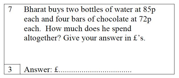 Trinity School - 10 Plus Maths Practice Paper Question 07