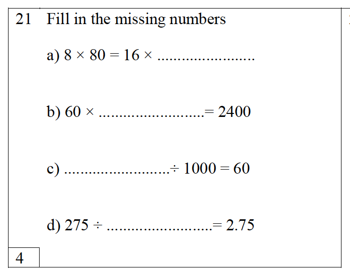Trinity School - 10 Plus Maths Practice Paper Question 21