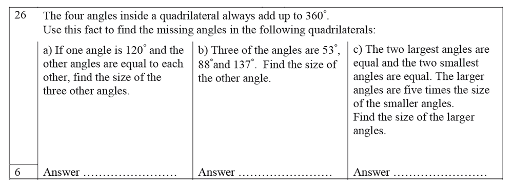 Trinity School - 10 Plus Maths Practice Paper Question 26