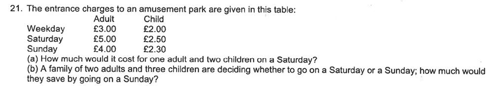 Trinity School - 10 Plus Maths Sample Questions Question 21