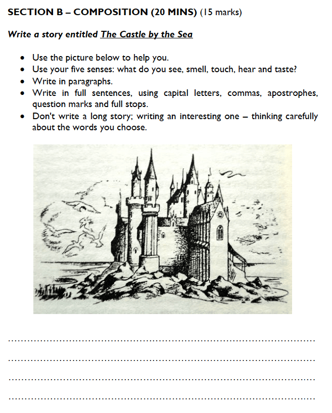 Westminster Cathedral Choir School - 8 Plus Specimen English Paper 1 Creative Writing Question 01