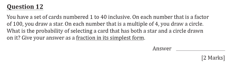 11 Plus Maths Independent Style Mock Test 2020 Question 13