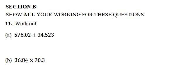 Alleyn's School - 13 Plus Maths Sample Examination Paper 1 Question 11