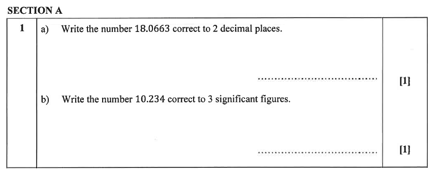 Christ's Hospital - Residential Assessment Year 9 Maths Question 01