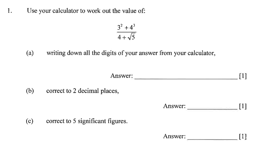 Dulwich College - Year 9 Maths Specimen Paper A Question 01