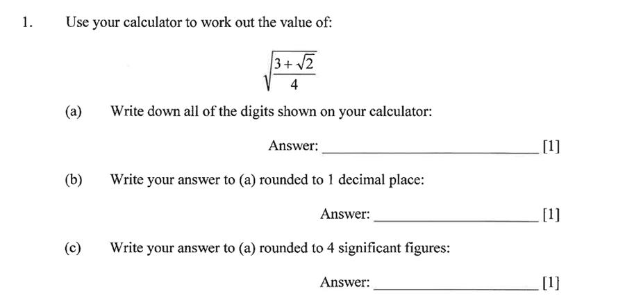 Dulwich College - Year 9 Maths Specimen Paper B Question 01