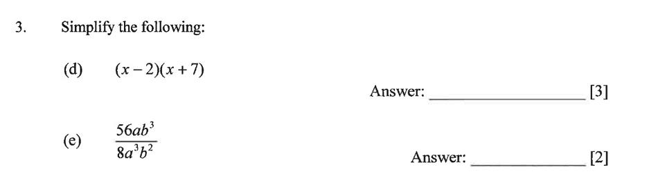 Dulwich College - Year 9 Maths Specimen Paper B Question 05