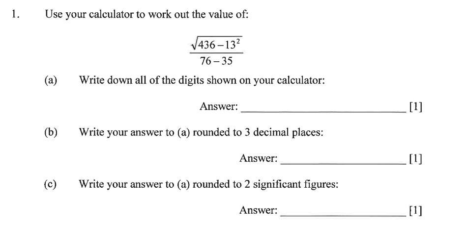 Dulwich College - Year 9 Maths Specimen Paper C Question 01