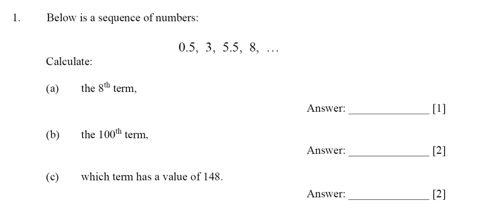 Dulwich College - Year 9 Maths Specimen Paper D Question 01