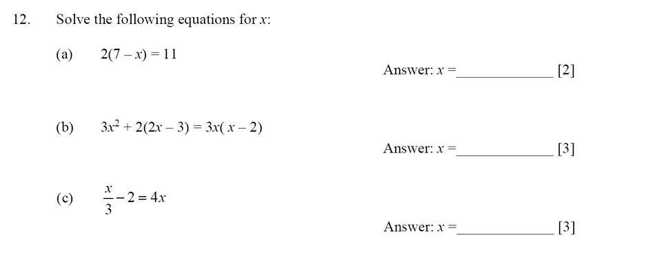 Dulwich College - Year 9 Maths Specimen Paper D Question 12