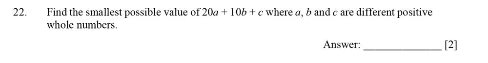 Dulwich College - Year 9 Maths Specimen Paper D Question 22