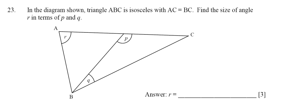 Dulwich College - Year 9 Maths Specimen Paper D Question 23