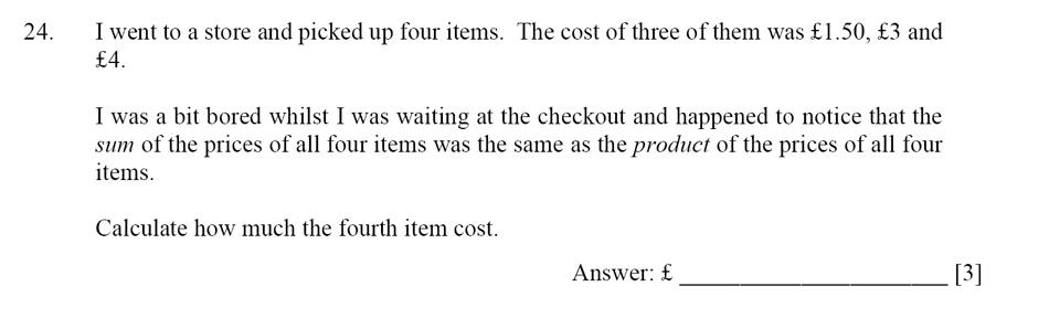 Dulwich College - Year 9 Maths Specimen Paper D Question 24