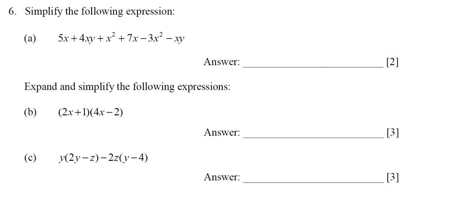 Dulwich College - Year 9 Maths Specimen Paper E Question 06