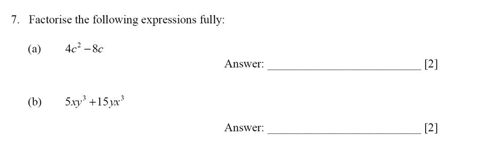 Dulwich College - Year 9 Maths Specimen Paper E Question 07
