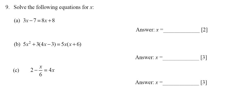 Dulwich College - Year 9 Maths Specimen Paper E Question 09