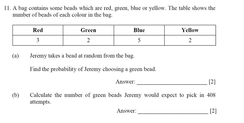 Dulwich College - Year 9 Maths Specimen Paper E Question 11