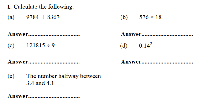 Forest School - 13 Plus Maths Sample Paper 1 Question 01