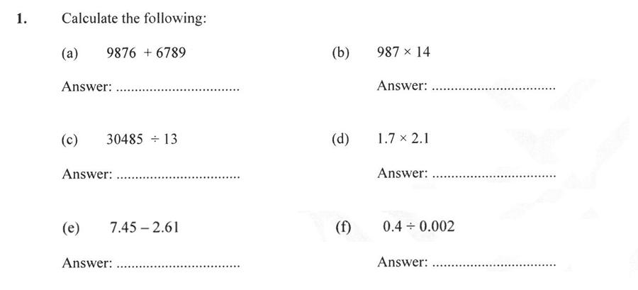 Forest School - 13 Plus Maths Sample Paper 2 Question 01