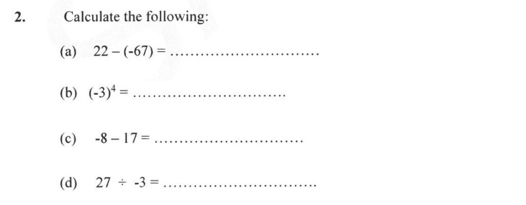 Forest School - 13 Plus Maths Sample Paper 2 Question 02