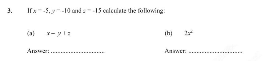 Forest School - 13 Plus Maths Sample Paper 2 Question 03