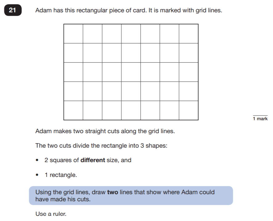 Question 21 Maths KS2 SATs Papers 2019 - Year 6 Practice Paper 2 Reasoning, Geometry, Diagram drawing, Square, 2D shapes, Rectangle