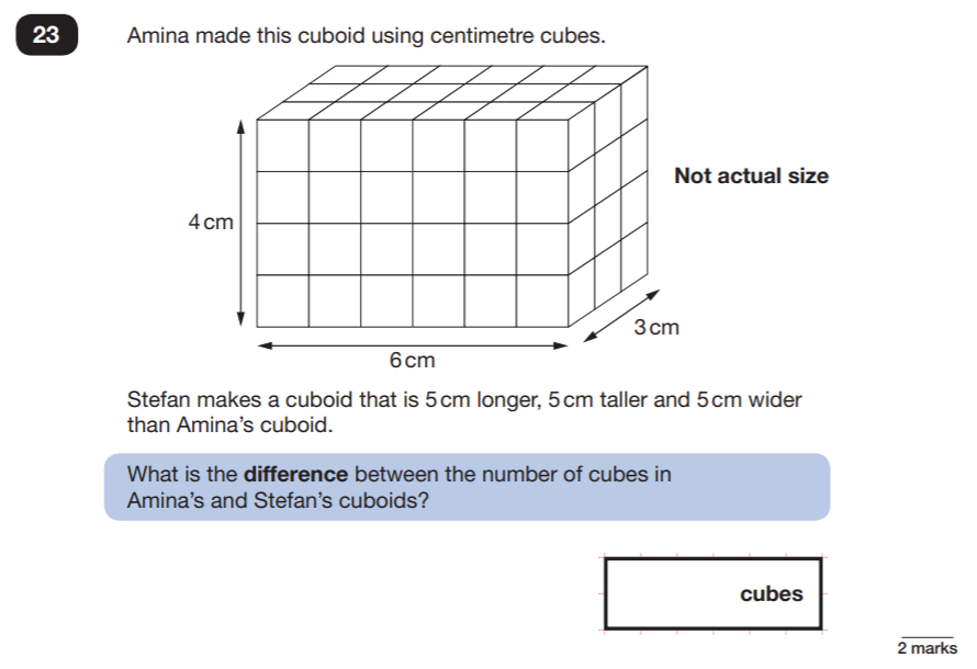 Question 23 Maths KS2 SATs Papers 2019 - Year 6 Practice Paper 2 Reasoning, Geometry, Cubes and Cuboids, Volume, Logical Problems