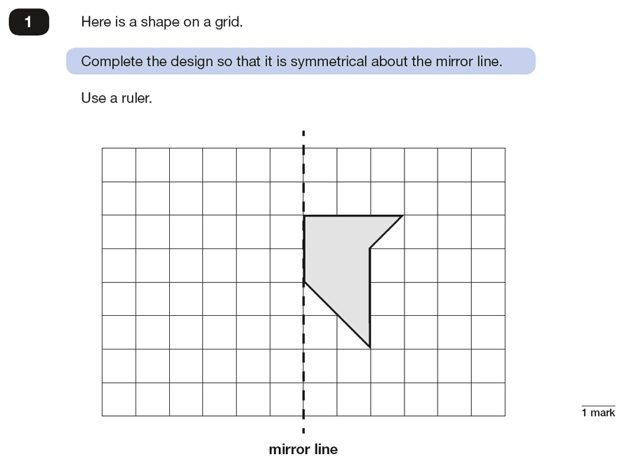 Qusetion 01 Maths KS2 SATs Papers 2018 - Year 6 Past Paper 2 Reasoning, Geometry, Reflection, Lines of Symmetry
