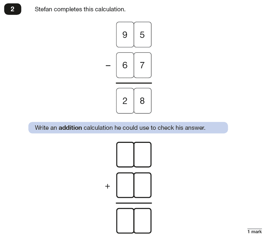 Qusetion 02 Maths KS2 SATs Papers 2018 - Year 6 Sample Paper 2 Reasoning, Numbers, Subtraction, Addition
