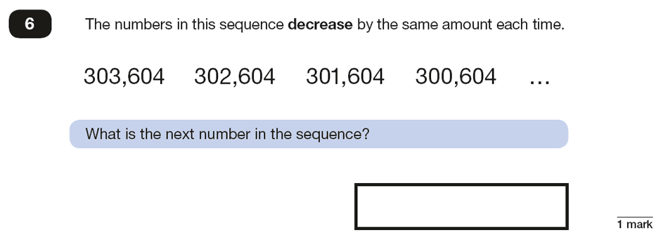 Qusetion 06 Maths KS2 SATs Papers 2018 - Year 6 Sample Paper 2 Reasoning, Algebra, Patterns & Sequences