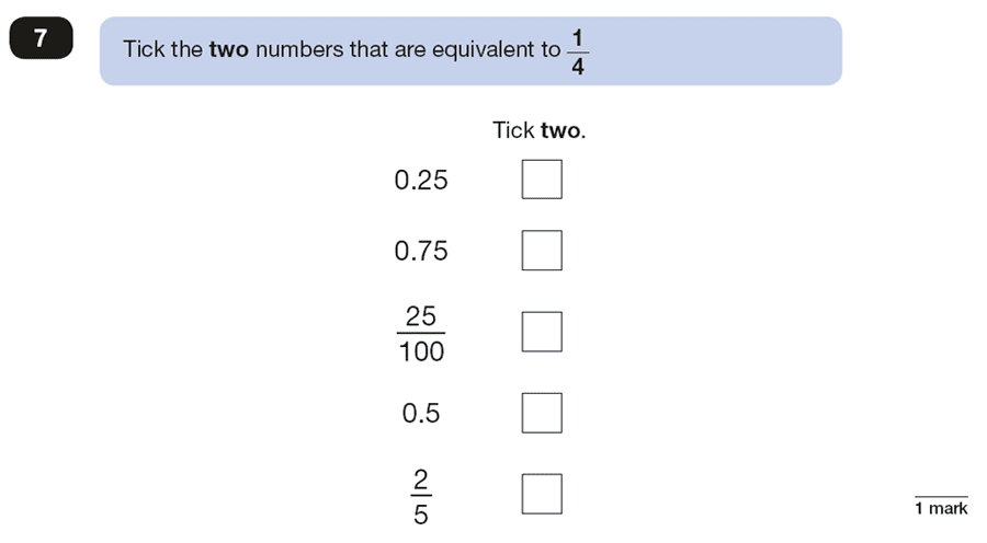 Qusetion 07 Maths KS2 SATs Papers 2018 - Year 6 Practice Paper 2 Reasoning, Numbers, Fractions, Decimals