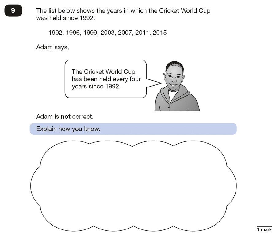 Qusetion 09 Maths KS2 SATs Papers 2018 - Year 6 Past Paper 2 Reasoning, Numbers, Word Problems, Logical Problems