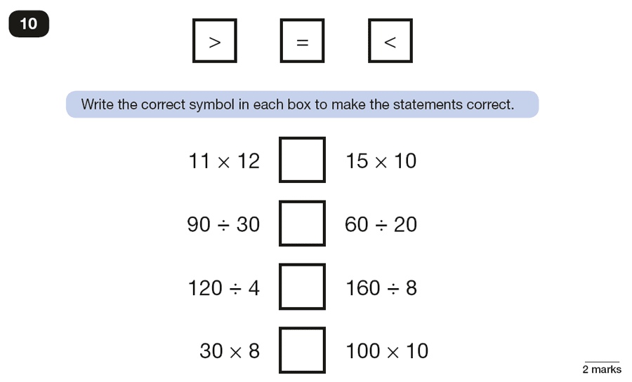 Qusetion 10 Maths KS2 SATs Papers 2018 - Year 6 Sample Paper 2 Reasoning, Numbers, Multiplication, Division, Order and Compare Numbers
