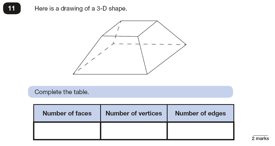 Qusetion 11 Maths KS2 SATs Papers 2018 - Year 6 Practice Paper 2 Reasoning, Numbers, Counting, Geometry, 3D shapes