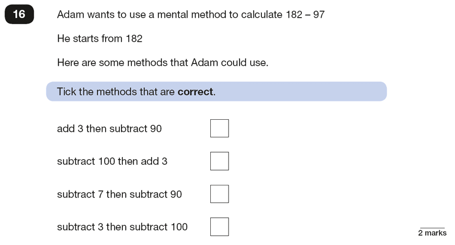 Qusetion 16 Maths KS2 SATs Papers 2018 - Year 6 Exam Paper 2 Reasoning, Numbers, Subtraction, Addition