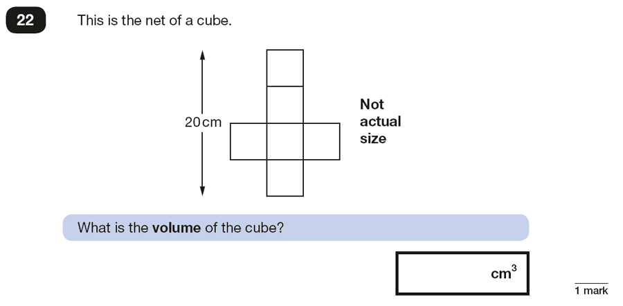 Qusetion 22 Maths KS2 SATs Papers 2018 - Year 6 Sample Paper 2 Reasoning, Geometry, Nets of Solids, Cubes and Cuboids, Volume