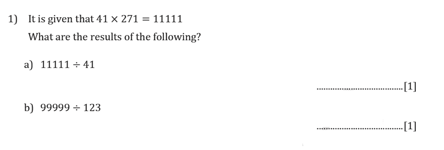 Reigate Grammar School - 13 Plus Maths Sample Paper - Non-calculator Question 01