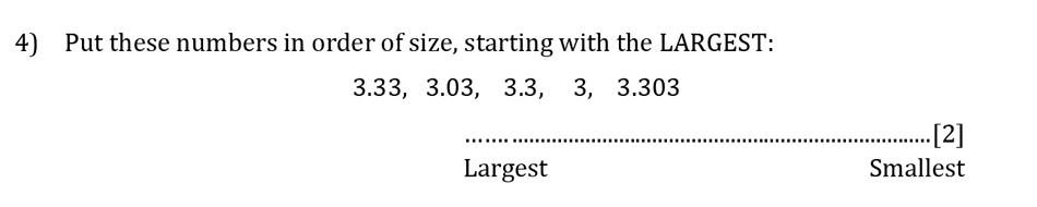 Reigate Grammar School - 13 Plus Pre-Test Maths Sample Paper Question 04