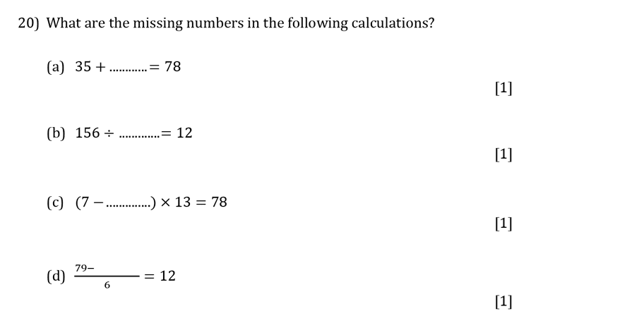 Reigate Grammar School - 13 Plus Pre-Test Maths Sample Paper Question 20