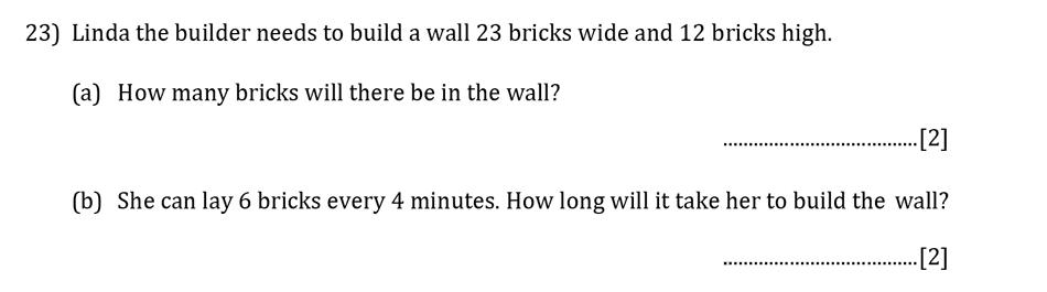 Reigate Grammar School - 13 Plus Pre-Test Maths Sample Paper Question 23