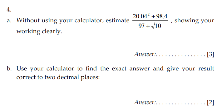 Sevenoaks School - Year 9 Maths Sample Paper 2009 Question 06