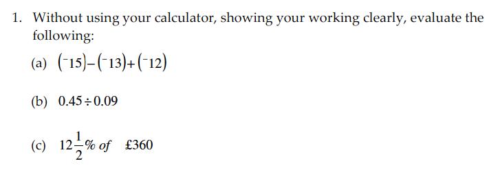 Sevenoaks School - Year 9 Maths Sample Paper 2010 Question 01