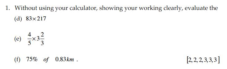 Sevenoaks School - Year 9 Maths Sample Paper 2010 Question 02