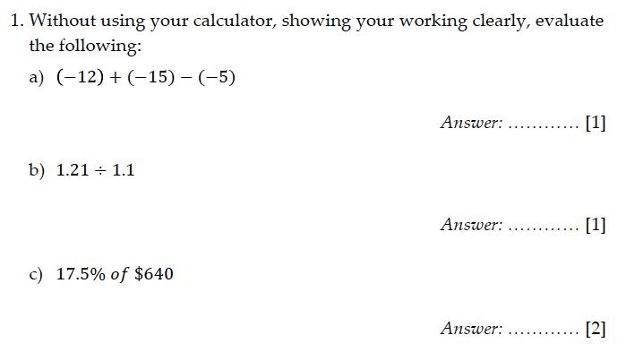 Sevenoaks School - Year 9 Maths Sample Paper 2011 Question 01
