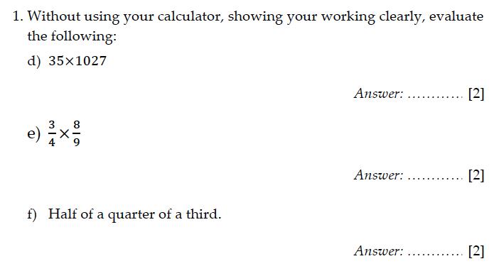 Sevenoaks School - Year 9 Maths Sample Paper 2011 Question 02