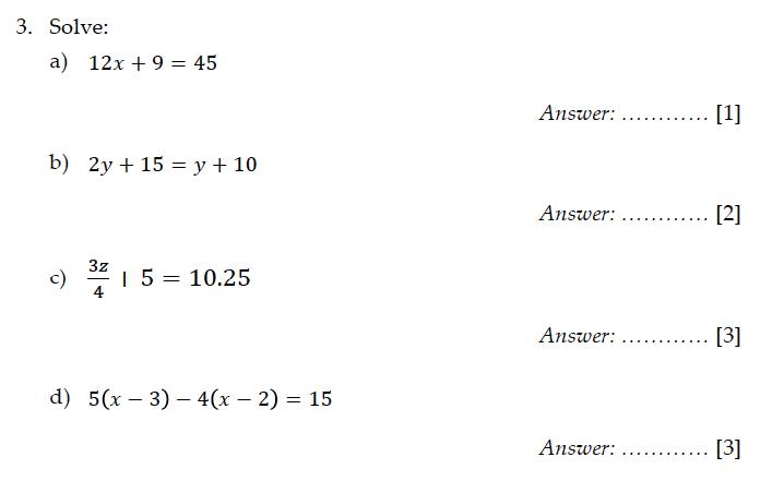 Sevenoaks School - Year 9 Maths Sample Paper 2011 Question 04