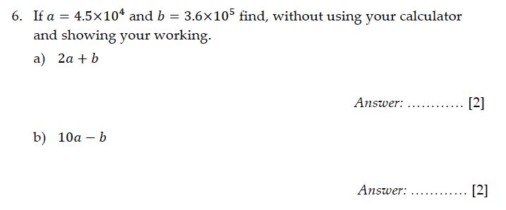 Sevenoaks School - Year 9 Maths Sample Paper 2011 Question 07