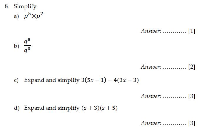 Sevenoaks School - Year 9 Maths Sample Paper 2011 Question 09