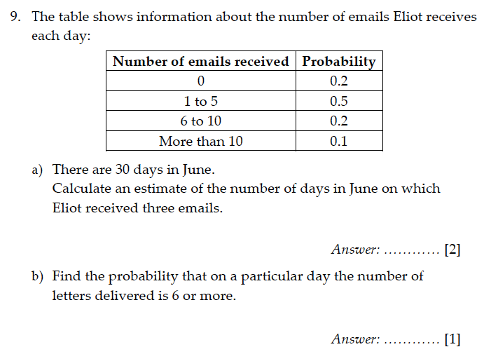 Sevenoaks School - Year 9 Maths Sample Paper 2011 Question 10