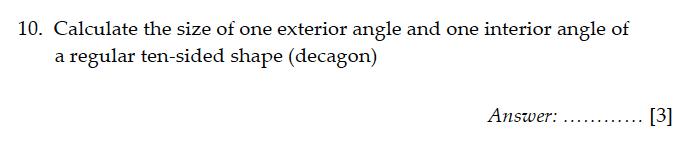 Sevenoaks School - Year 9 Maths Sample Paper 2011 Question 11